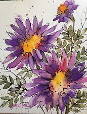 8x10 Pamela Wilhelm Original Ink & Watercolor Whimsical Purple daisy
