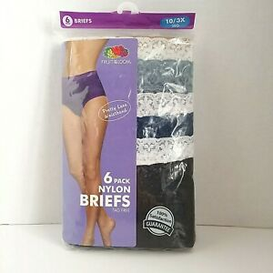 Fruit of the Loom Women's 6 Pack Nylon Brief Panties Tag Free Assorted Sz 10/3X