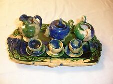 "VTG. MEXICAN MAJOLICA CHILDS-DOLL- TEA SET 7"" TRAY W DISHES MKD. MEXICO"