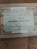 2014 Leaf History Of Football Cut Signature Check Charley Trippi HOF