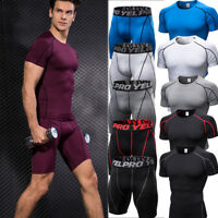 Men Workout Fitness Shirt Compression Tights Gym Clothes Moisture Wicking Shorts