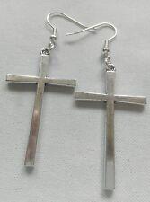 Large Cross  ( 40 x 25mm) Tibetan Silver charm Earrings Kitsch Retro Vintage