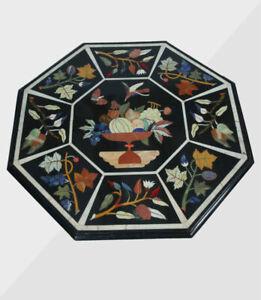 "36"" Center Marble Table Top Semi precious stones Inlay Art Work Home Decor"