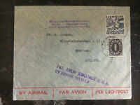 1937 Curacao NWI KLM Airmail Cover to Holland and USA