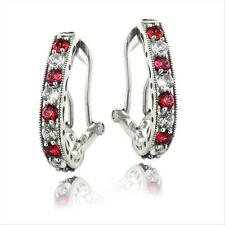 925 Silver 2.5ct Lab Created Ruby & White Sapphire Oval Clutchless Earrings