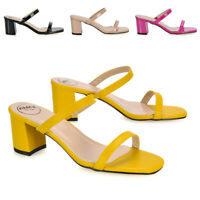 Womens Block Low Heel Strappy Sandals Ladies Slip On Slider Mule Open Toe Shoes