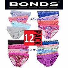 12 PACK PAIRS x BONDS GIRLS UNDERWEAR Brief Bikini Kids Undies Knickers CHEAP
