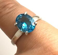 Swiss blue topaz oval cut, solid Sterling Silver ring, uk size P. new, UK seller