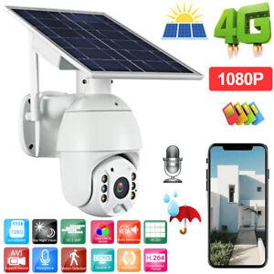4G 1080P Solar Panel PTZ CCTV Camera Intercom PIR Motion Detection IR Night View