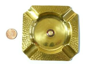 Vintage Brass Ashtray with Pontiac Chief of the Sixies enamel Badge
