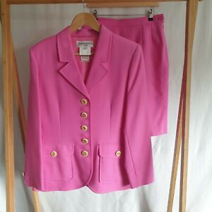 Yves St Laurent bright pink wool skirt suit, Unworn size UK 16