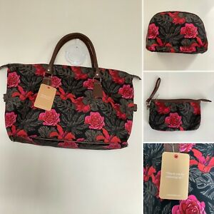 BNWT - Cotton Traders Floral Weekend Bag Three Piece Luggage Set