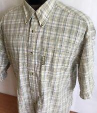 Columbia Shirt Button Front Short Sleeve Plaid Checks Cotton Men Sz M Casual
