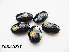 Glasperlen Millefiori Ellipse 16x24mm schwarz/bunt 5 Stück SERAJOSY