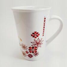 Starbucks Christmas Mug Poinsetta Snowflake Holiday Coffee Tea Cup  12 oz.