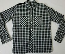 NUDIE JEANS SHIRT TEDDY BOY BIRD LONG SLEEVE BLACK GREY CHECK PLAID M L LARGE