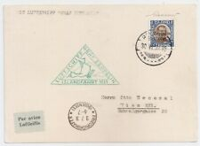1931 ICELAND TO AUSTRIA ZEPPELIN COVER, RARE 1kr STAMP, GREEN CANCEL !