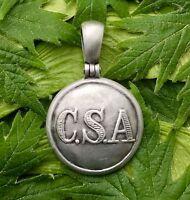 """.925 Confederate Army General Service """"CSA"""" Button (CS81)Civil War Relic Pendant"""