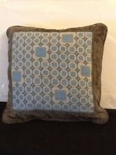 "Vintage Mid Century Needlepoint Throw Pillow 12""  In Blue White And Grey"