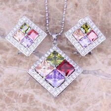 Multi-Color Multigem Red Garnet Silver Jewelry Sets Earrings Pendant S0809