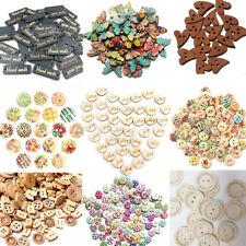 50/100Pcs Mixta Botones De Madera 2 Agujeros Costura Manualidades wooden button