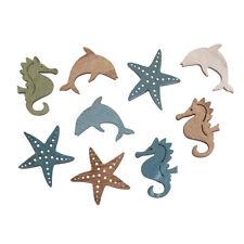 9 Holz Streuteile Meerestiere Fische Seestern Seepferdchen Delphin Streudeko