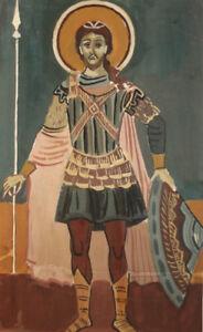 Vintage religious icon gouache painting
