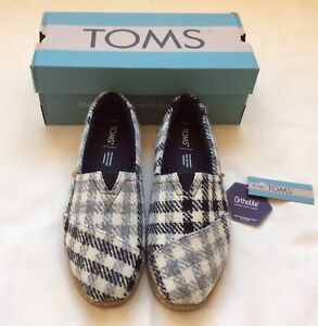 TOMS Black White Houndstooth Plaid Alpargata Leather Faux Shearling Shoes Size 8