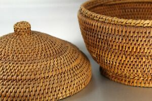 """bundled grass woven reed  basket with lid 8"""" tall 9"""" at shoulder"""