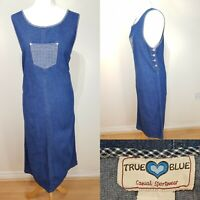 Vintage Ladies Medium Blue Denim Long Dress Size 14 Gingham 80's Retro Country