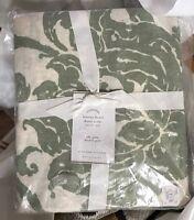 Pottery Barn Loretta Duvet Cover Green Queen 2 Standard Sham Floral Belgian Flax