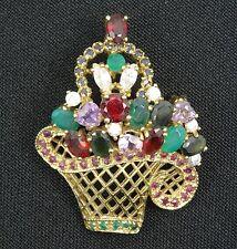 Dazzling Vintage 40's Gemstone Jeweled Floral Basket Pin Brooch