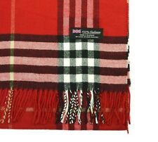 cc2caa421d86 Womens 100% CASHMERE Scarf vintage Red Big Plaid Design Soft MADE IN  SCOTLAND