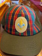 Cub Webelos Boys Scouts of America BSA Hat Cap Size M/L Plaid Green Uniform VGC