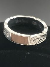 Koa Nani Men's Ring Diamond 925 Sterling Silver Koa Wood from Hawaii.