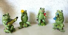 Vintage Ceramic Frog Band Quartet Green Painted Figurines