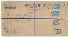 """Newfoundland Registered """" D """" Letter size rare Largest envelope Rocky Hr. 1941"""