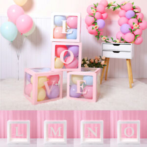 Letter Cube Transparent Gift Boxes Kid Birthday Baby Shower Party Decoration