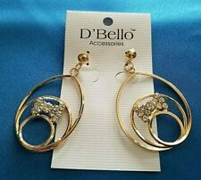 D'Bello Fashion Gold Color Pierced Earrings With Butterflies