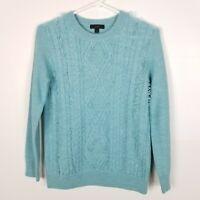 J. Crew Women Sweater Cable Crew Neck Fringe Merino Wool Blue S