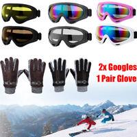 Snow Ski Goggles UV400 Anti-fog Mask Sun Glasses Skiing & Gloves for Women Men