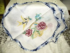 EMBROIDERED DOLIES WITH BLUE CROCHET EDGING  BIRD & FLOWER BASKET SET/ 2 SQUARE