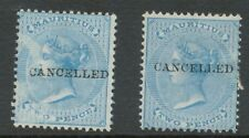 MAURITIUS 1878 Queen Victoria 2D blue/lightblue overprinted w CANCELLED VARIETY