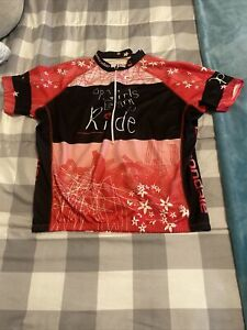 """Cannondale Cycling Jersey """"OP Girls Learn To Ride"""" L EUC 1/2 Zip Pullover"""