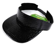 BLACK ALLIGATOR SKIN VISOR REPTILE FAUX LEATHER SNAPBACK HAT CAP CROCODILE RETRO