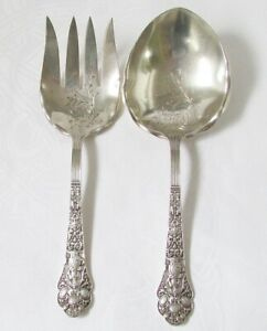MEDICI OLD GORHAM LARGE ANTIQUE STERLING SILVER SALAD SET CHASED 192 GRAMS