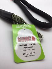 KONG Comfort And Reflective Padded Handle Rope Dog Leash Green 4 Ft. Accessory