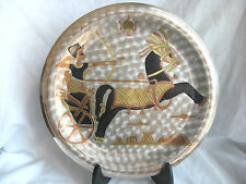 """Egyptian Brass Wall Decor Plate Silver Plated King Ramses Chariot Design 10"""""""