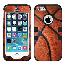 For iPhone 5 5S SE Rubber IMPACT TUFF HYBRID Case Skin Phone Cover Basketball