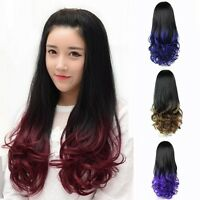 New Long Curly Wavy 3/4 Wig Black Ombre Colored Fashion Wig Hair Cosplay Costume